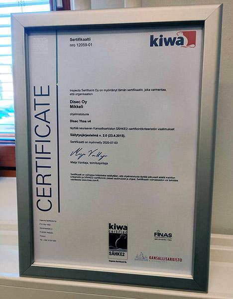 Disecin Yksa-palvelun Sähke2-sertifikaatti